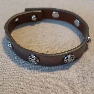 Stella and Dot leather and silver bracelet